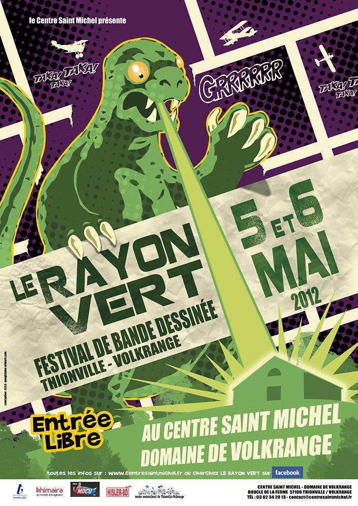 """Affiche festival BD """"le Rayon Vert"""" 2012."""